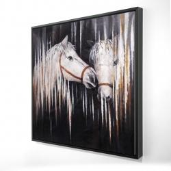 Framed 24 x 24 - 3D - Two white horses kissing