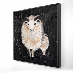 Framed 24 x 24 - 3D - Two bushy ram