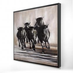 Framed 24 x 24 - 3D - Group of running bulls