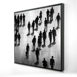 Framed 24 x 24 - 3D - Silhouettes of people on the street