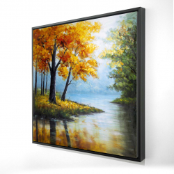 Framed 24 x 24 - 3D - Trees by the lake
