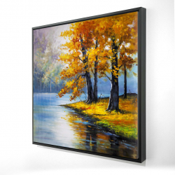 Framed 24 x 24 - 3D - Two trees by the lake