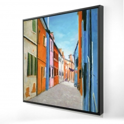 Framed 24 x 24 - 3D - Colorful houses in italy