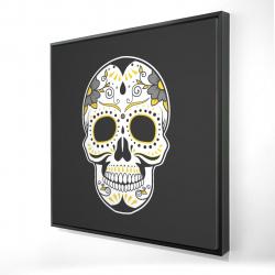 Framed 24 x 24 - 3D - Mexican sugar skull art