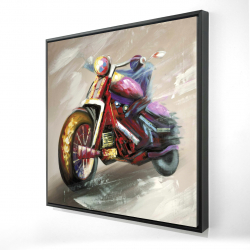 Framed 24 x 24 - 3D - Abstract motorcycle
