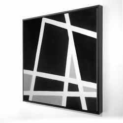 Framed 24 x 24 - 3D - Black and white abstract lines