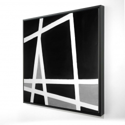 Framed 24 x 24 - 3D - Black and white abstract shapes