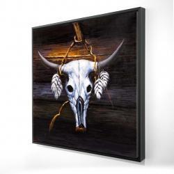 Framed 24 x 24 - 3D - Hanged bull skull
