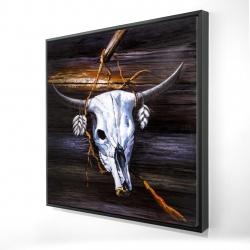 Framed 24 x 24 - 3D - Hanged skull on a wood wall