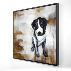 Framed 24 x 24 - 3D - Sitting dog