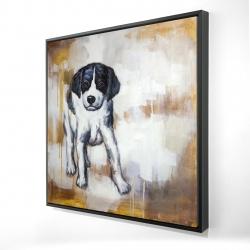 Framed 24 x 24 - 3D - Curious puppy dog