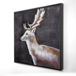 Framed 24 x 24 - 3D - Deer profile view in the dark