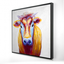 Framed 24 x 24 - 3D - Colorful country cow