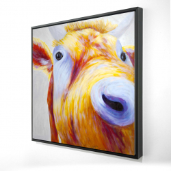 Framed 24 x 24 - 3D - Closeup of a colorful country cow