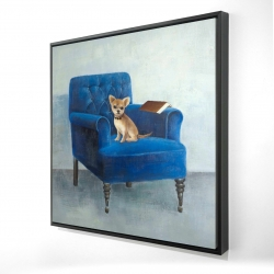 Framed 24 x 24 - 3D - Chihuahua on a blue armchair