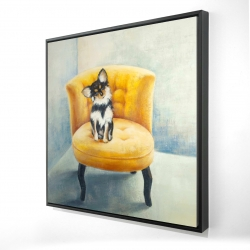 Framed 24 x 24 - 3D - Long haired chihuahua on a yellow armchair