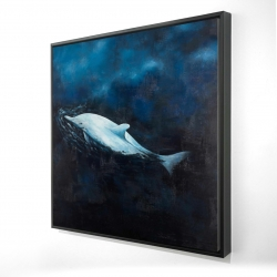 Framed 24 x 24 - 3D - Swimming dolphin
