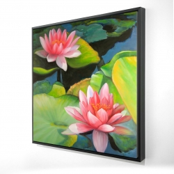 Framed 24 x 24 - 3D - Water lilies and lotus flowers