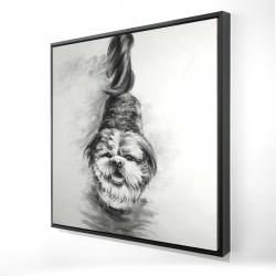 Framed 24 x 24 - 3D - Happy dog sketch