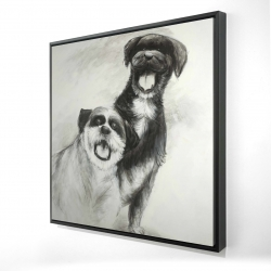 Framed 24 x 24 - 3D - Happy dogs sketch