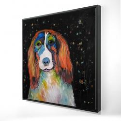 Framed 24 x 24 - 3D - Colorful dog