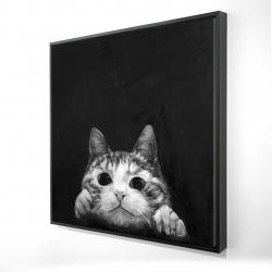 Framed 24 x 24 - 3D - Curious cat