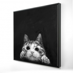 Framed 36 x 36 - 3D - Curious cat