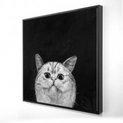 Framed 24 x 24 - 3D - Watching cat