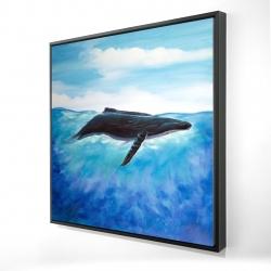 Framed 24 x 24 - 3D - Blue whale