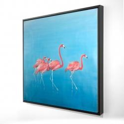 Framed 24 x 24 - 3D - Four flamingos