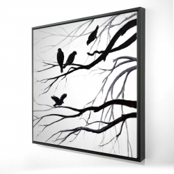 Framed 24 x 24 - 3D - Silhouette of birds