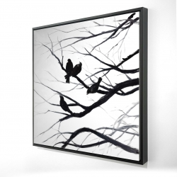 Framed 24 x 24 - 3D - Birds and branches silhouette
