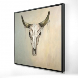 Framed 24 x 24 - 3D - Color fading bull skull