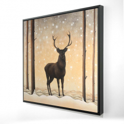 Framed 24 x 24 - 3D - Roe deer in winter