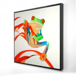 Framed 36 x 36 - 3D - Red-eyed frog