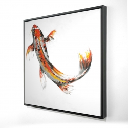 Framed 24 x 24 - 3D - Butterfly koi fish