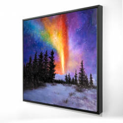 Framed 24 x 24 - 3D - Aurora borealis in the forest