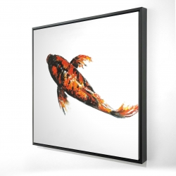 Framed 24 x 24 - 3D - Red butterfly koi fish