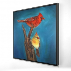 Framed 24 x 24 - 3D - Birds on a branch