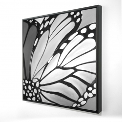 Framed 24 x 24 - 3D - Monarch wings closeup