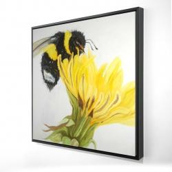Framed 24 x 24 - 3D - Little bumblebee on a dandelion