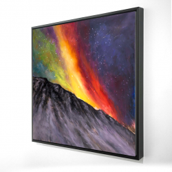Framed 24 x 24 - 3D - Aurora borealis in the mountain