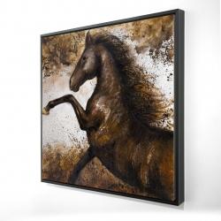 Framed 24 x 24 - 3D - Horse rushing into the soil