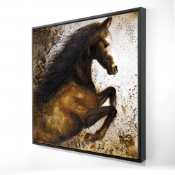 Framed 24 x 24 - 3D - Horse rushing into the dust