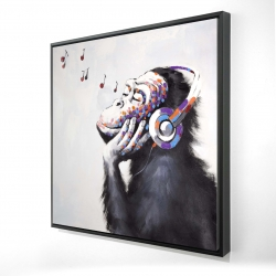 Framed 24 x 24 - 3D - Monkey listening music