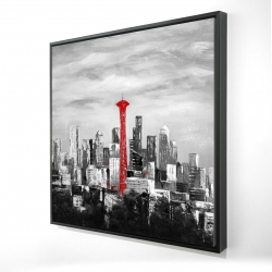 Framed 24 x 24 - 3D - Space needle in red