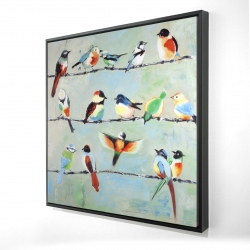 Framed 24 x 24 - 3D - Small abstract colorful birds