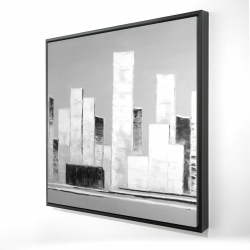 Framed 24 x 24 - 3D - Abstract black and white buildings