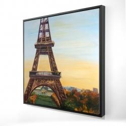 Framed 24 x 24 - 3D - Eiffel tower by dawn