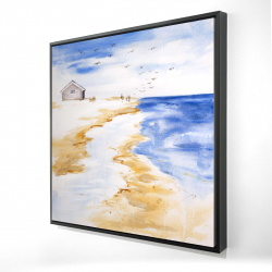 Framed 24 x 24 - 3D - House on the beach